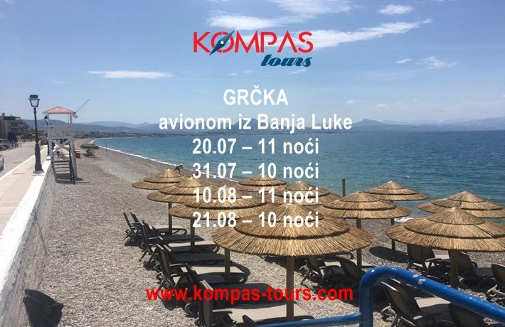 Grčka  ✈ čarter letovi iz Banja Luke: 20.07., 31.07., 10.08. i 21.08.2020